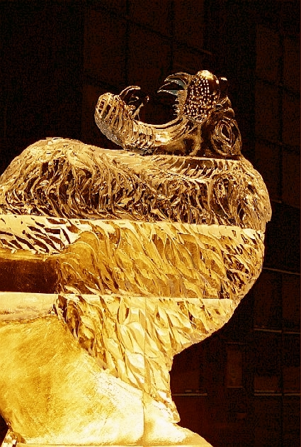 Ice Sculpture of a Roaring Lion 