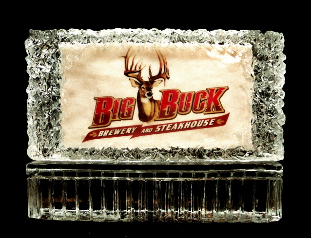Big Buck Brewery Ice Sculpture, Ice Impressions Ice Sculpture, Business Logo Ice Sculptures, Ice Impressions.