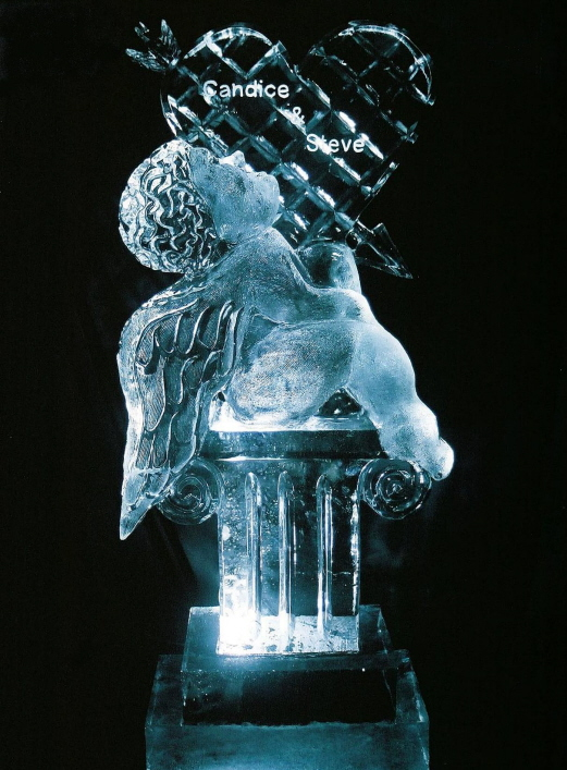 michigan ice sculpture, cherub with heart ice sculpture, michigan wedding ice sculpture, wedding ice sculptures