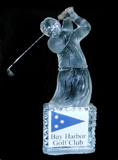 ice sculpture, michigan golfer ice sculpture, ice sculptures michigan