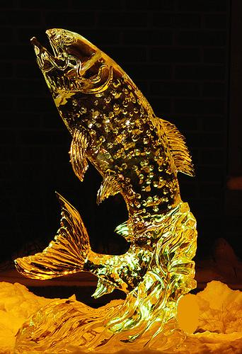 Trout Ice Sculpture, Ice Impressions