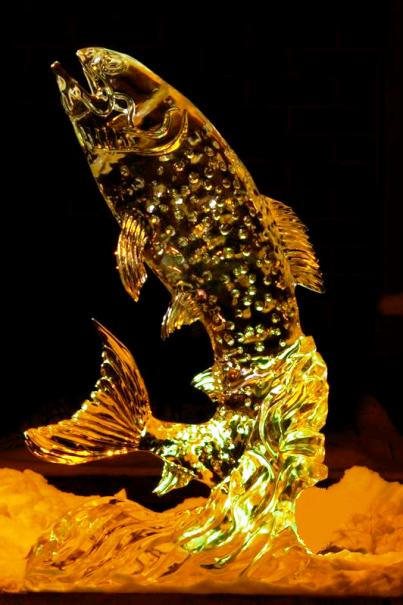 Golden Trout Ice Sculpture, Trout Ice Sculpture, Ice Impressions.