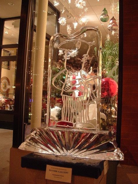 Wine Steward Engraved Ice Sculpture, Ice Impressions, Ice Sculptures.