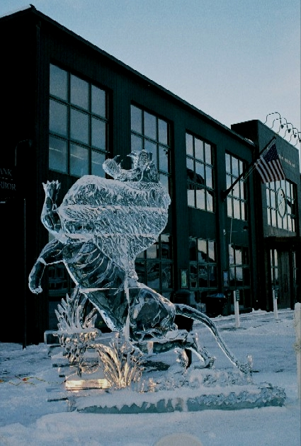 Roaring Lion Ice Sculpture