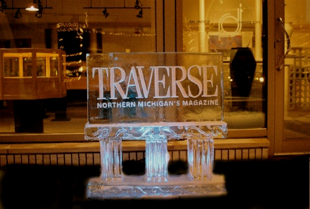 Traverse The Magazine Ice Sculpture, Ice Impressions Ice Sculptures, Ice Impressions, Bay Harbor Ice Sculptures