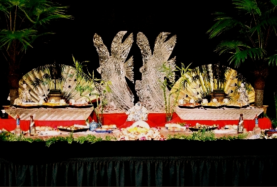 Suchi Ice Table, Ice Tables, Angelfish Ice Sculptures, Ice Impressions.