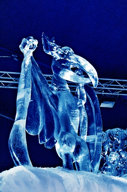Ice Sculpture of a Prehistoric Dinosaur