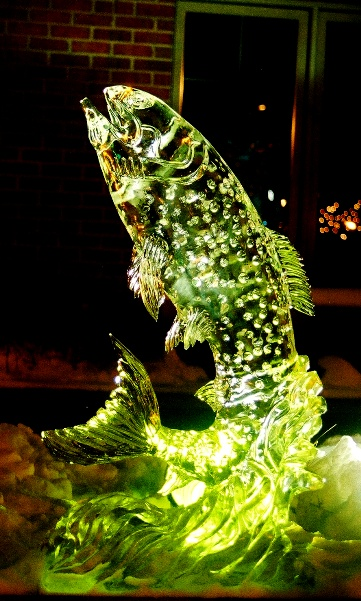 Trout Ice Sculpture, Trout Ice Carving, Ice Impressions, Traverse City, Michigan Ice Sculptures, northern Michigan Ice Sculptures.