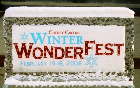 2008 Winter Wonderfest Ice Sign by Ice Impressions, Traverse City, Ice Impressions, 2008 Winter Wonderfest, Michigan Winter Festival, Ice and Snow Festival, Pure Michigan, Ice Blocks, Clear Ice, Traverse City Events, Downtown Traverse City Events, City Centre Plasa Traverse City, Ice Impressions Ice Sculptures