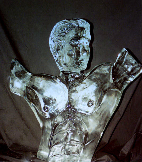 ice sculpture, male torso ice sculpture, Ice Impressions, Ice Sculpture, Ice Sculptures, Ice Carvings, Ice Carving, Ice Impressions Ice Sculptures