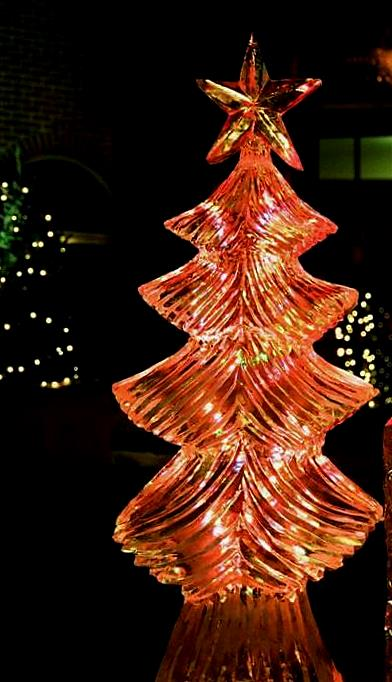 Christmas tree ice sculpture